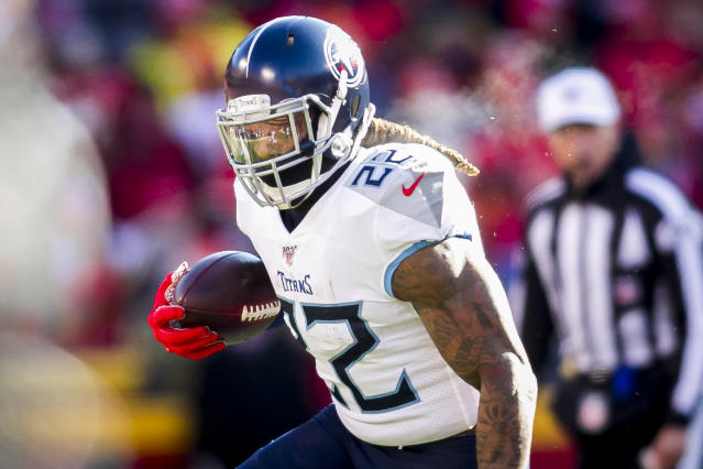 """""""Tractorcito"""" is a nickname that should be attached to Tennessee Titans running back Derrick Henry for eternity. (Photo by Nick Tre. Smith/Icon Sportswire via Getty Images)"""