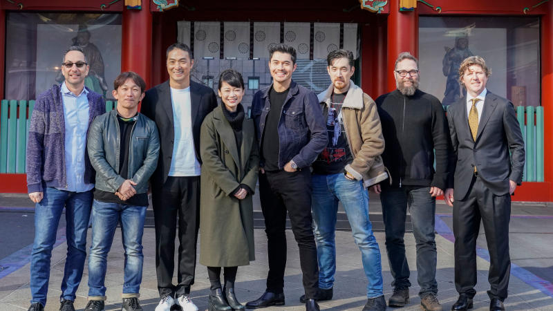 The cast and crew of 'Snake Eyes' at the Hie-Jinja Shrine in Tokyo, Japan on January 10, 2020. (Photo by Christopher Jue/Getty Images for Paramount Pictures)