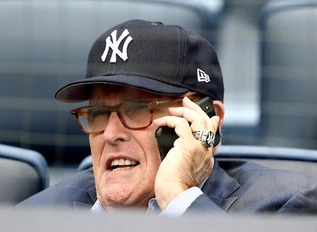 Former New York City mayor and current member of Donald Trump's legal team Rudy Giuliani was booed at Yankee Stadium on his birthday on Monday. (Photo by Elsa/Getty Images)