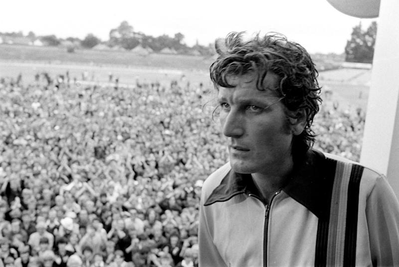 A tired looking Bob Willis in the pavillion at Headingley after he bowled England to a sensational victory over Australia in the third Cornhill Test match at Headingley, Leeds. (Photo by PA Images via Getty Images)