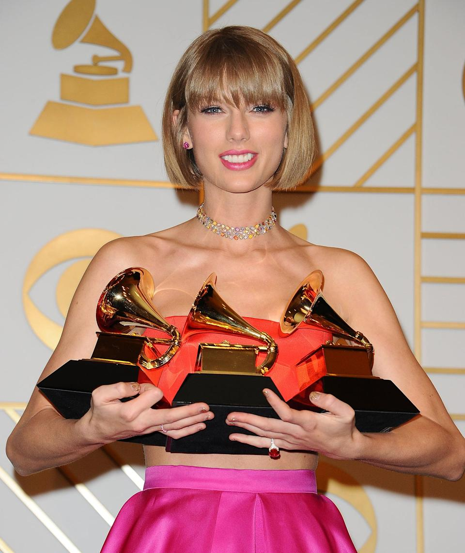 """<ul> <li><strong>Has:</strong> An Emmy for original interactive program and Grammys for <strong>Fearless</strong>, <strong>1989</strong>, """"White Horse,"""" """"Mean,"""" """"Safe &amp; Sound,"""" and """"Bad Blood""""</li> <li><strong>Needs:</strong> An Oscar and a Tony</li> </ul>"""