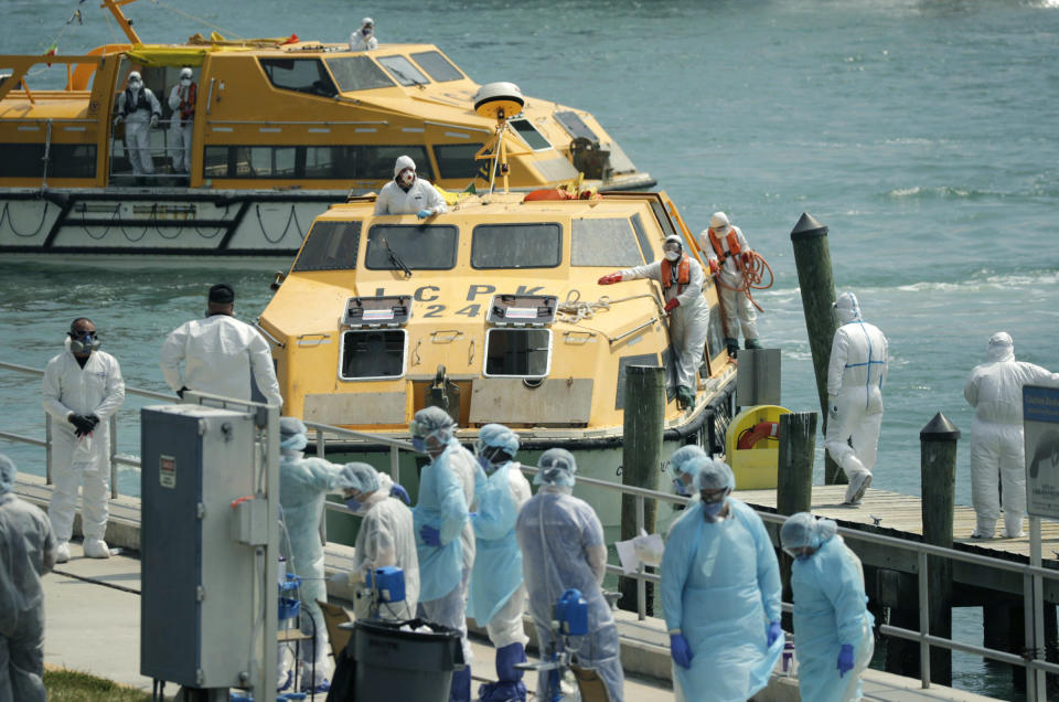 Costa Favolosa cruise ship lifeboats arrive with crew members showing COVID-19 symptoms at the US Coast Guard Station Miami Beach on Thursday, March 26, 2020.(Photo: David Santiago/Miami Herald/TNS via Getty Imates)