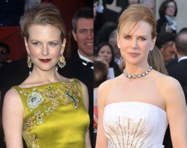 "Nicole Kidman won Best Actress in 2002 for her role in ""The Hours."" Pictured: Kidman at the Academy Awards in 1997 (left) and 2011 (right)."