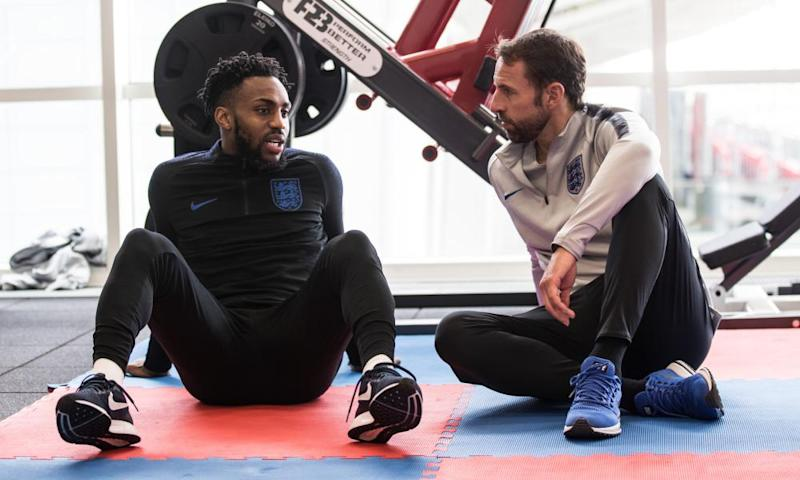 Gareth Southgate with Danny Rose in England training.