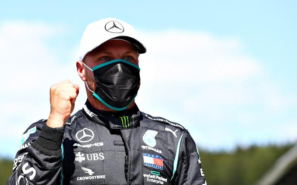 Pole position qualifier Valtteri Bottas of Finland and Mercedes GP celebrates in parc ferme during qualifying for the Formula One Grand Prix of Austria at Red Bull Ring on July 04, 2020 in Spielberg, Austria - Dan Istitene - Formula 1/Formula 1 via Getty Images
