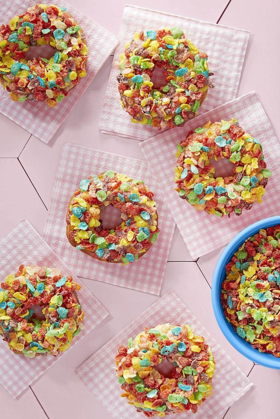 """<p>Two breakfast favorites collide to create our new favorite morning treat. Mom will feel like a kid at heart indulging in these delicious donuts.</p><p><strong><a href=""""https://www.countryliving.com/food-drinks/recipes/a46352/fruity-pebbles-doughnuts-recipe/"""" rel=""""nofollow noopener"""" target=""""_blank"""" data-ylk=""""slk:Get the recipe"""" class=""""link rapid-noclick-resp"""">Get the recipe</a>.</strong></p><p><a class=""""link rapid-noclick-resp"""" href=""""https://www.amazon.com/Lodge-Enameled-Classic-Enamel-Island/dp/B000N501BK?tag=syn-yahoo-20&ascsubtag=%5Bartid%7C10050.g.4238%5Bsrc%7Cyahoo-us"""" rel=""""nofollow noopener"""" target=""""_blank"""" data-ylk=""""slk:SHOP DUTCH OVENS"""">SHOP DUTCH OVENS</a> </p>"""