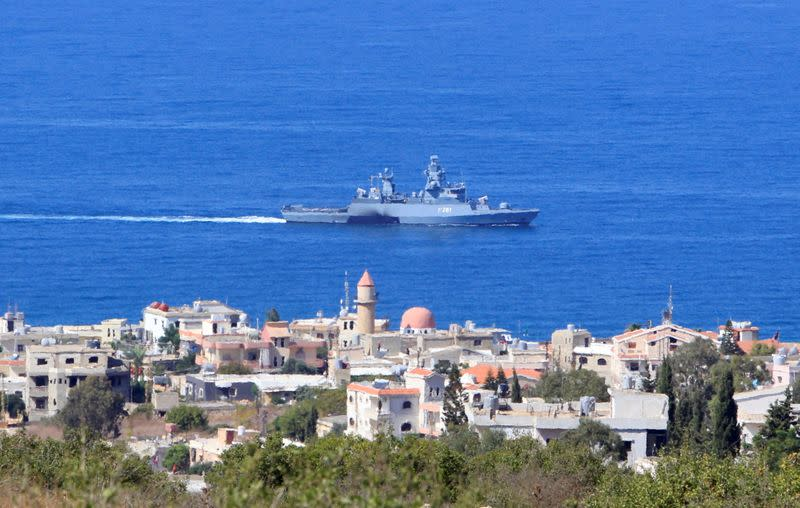 FILE PHOTO: A UN naval ship is pictured off the Lebanese coast in the town of Naqoura