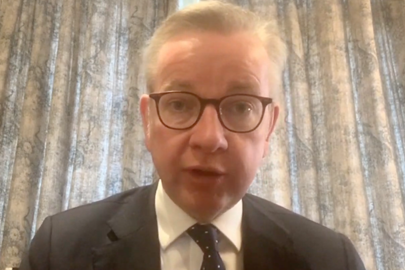 Michael Gove, pictured during an interview from home, is self-isolating (Sky News)