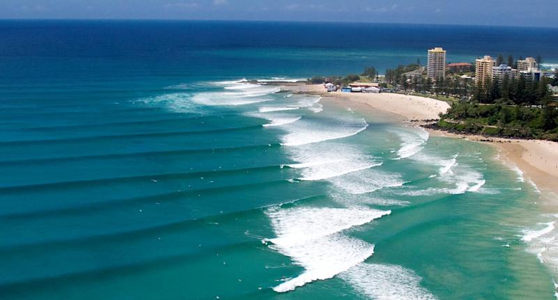 A undated supplied photo released Thursday Nov. 12, 2009 of The Superbank on the Gold Coast. The surf when at its best has unbroken waves running two kilometres from Hell's Kitchen at Snapper Rocks, past Rainbow Bay, Greenmount and Coolangatta to Kirra. (AAP Image/Supplied) NO ARCHIVING EDITORIAL USE ONLY