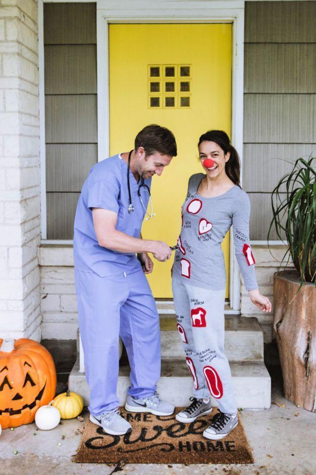 """<p>It's time to play doctor: Have your partner dress up as a nurse or surgeon, and then cover an old sweatsuit with Operation-inspired felt pieces. Just make sure your other half has a pair of pliers handy, so they can get to work. </p><p><a class=""""link rapid-noclick-resp"""" href=""""https://www.amazon.com/Dagacci-Medical-Uniform-Womens-Caribbean/dp/B00FT79AKU/?tag=syn-yahoo-20&ascsubtag=%5Bartid%7C10055.g.2625%5Bsrc%7Cyahoo-us"""" rel=""""nofollow noopener"""" target=""""_blank"""" data-ylk=""""slk:SHOP SCRUBS"""">SHOP SCRUBS</a></p><p><em><a href=""""https://www.creatingreallyawesomefunthings.com/operation-costume-diy/"""" rel=""""nofollow noopener"""" target=""""_blank"""" data-ylk=""""slk:Get the tutorial at C.R.A.F.T. »"""" class=""""link rapid-noclick-resp"""">Get the tutorial at C.R.A.F.T. »</a></em></p>"""
