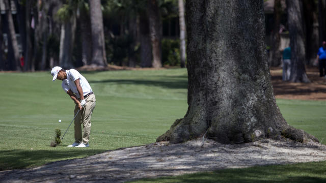 Satoshi Kodaira, of Japan, hits out of the rough of the second fairway during the third round of the RBC Heritage golf tournament in Hilton Head Island, S.C., Saturday, April 14, 2018. (AP Photo/Stephen B. Morton)