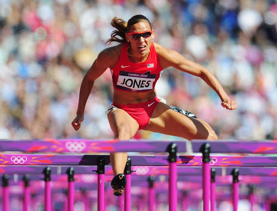 Lolo Jones of the United States competes in the Women's 100m Hurdles heat on Day 10 of the London 2012 Olympic Games at the Olympic Stadium on August 6, 2012 in London, England. (Photo by Stu Forster/Getty Images)