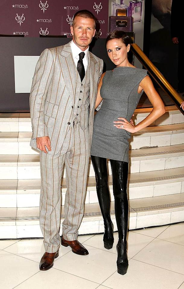 "A dapper David Beckham and his fashion-forward wife Victoria launched their new Beckham Signature Fragrance Collection at Macy's Herald Square in New York City. Andrew H. Walker/<a href=""http://www.gettyimages.com/"" target=""new"">GettyImages.com</a> - September 26, 2008"