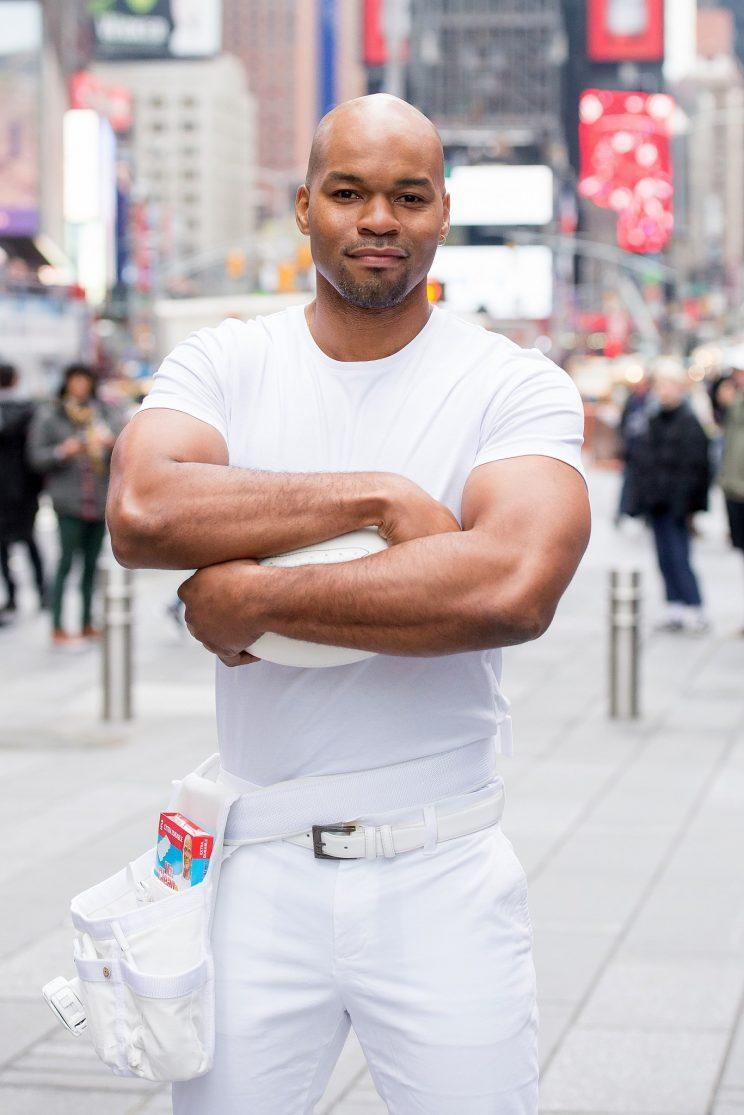 Winner of the the #NextMrClean contest Mike Jackson celebrates Mr. Clean's first ever Super Bowl ad spot at Duffy Square in Times Square on January 26, 2017 in New York City. (Photo: Mike Pont/WireImage)