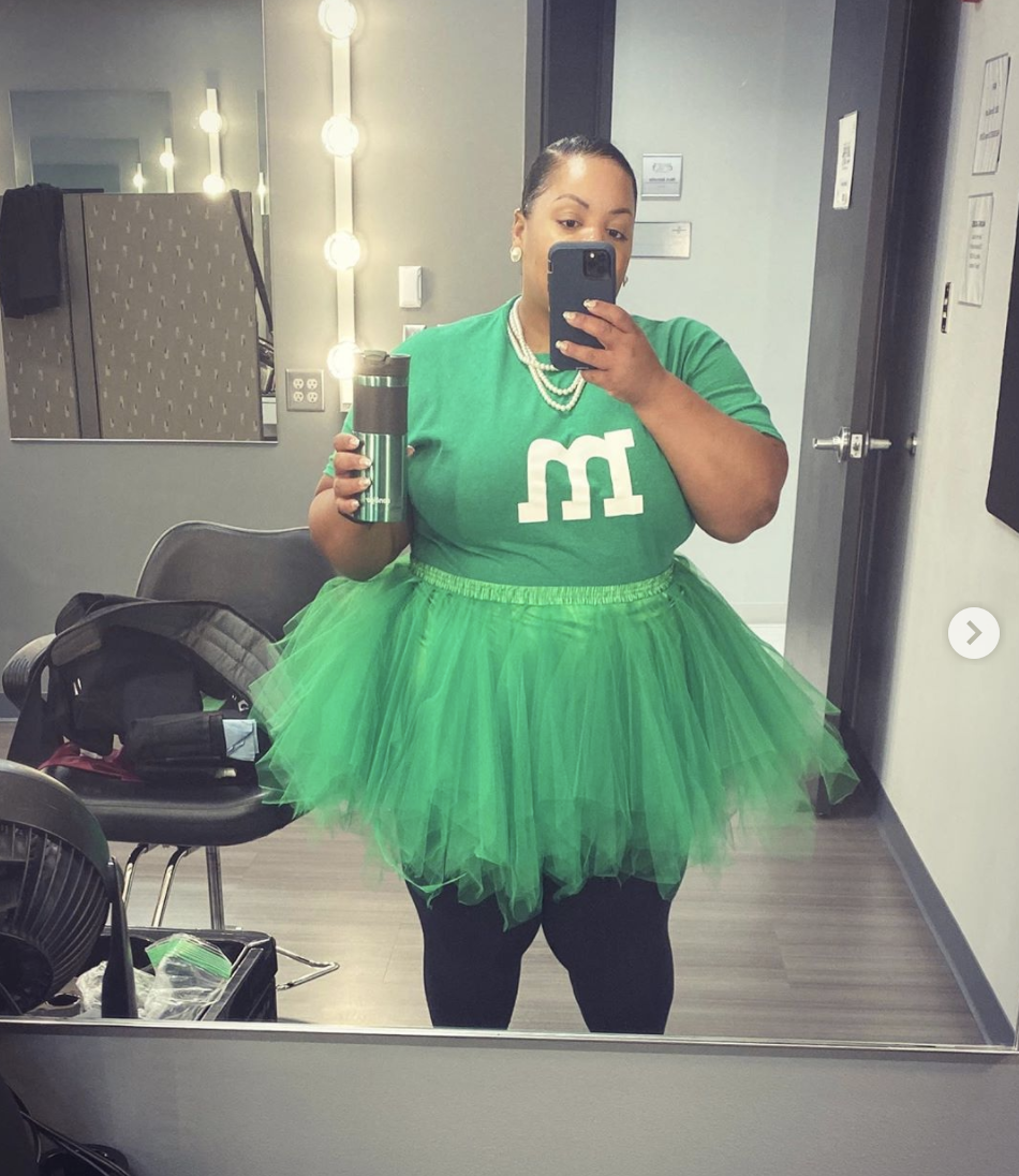 """<p>Strut your stuff as the glamorous green M&M. A green shirt, complete with a felted """"m,"""" and a pair of black leggings will suffice, but a green tutu takes the cute, easy costume to new heights. </p><p><a class=""""link rapid-noclick-resp"""" href=""""https://www.amazon.com/BENECREAT-Adhesive-Self-Adhesive-Resistant-Multi-Purpose/dp/B07PNHWKL8?tag=syn-yahoo-20&ascsubtag=%5Bartid%7C10072.g.28615520%5Bsrc%7Cyahoo-us"""" rel=""""nofollow noopener"""" target=""""_blank"""" data-ylk=""""slk:SHOP FELT"""">SHOP FELT</a></p>"""