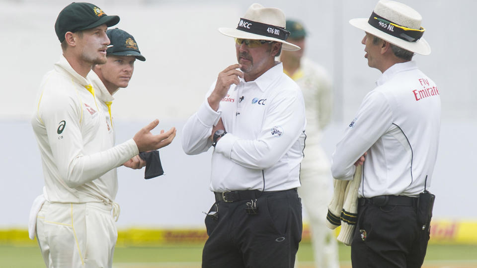 Cameron Bancroft, pictured here speaking with umpires Nigel Llong and Richard Illingworth.