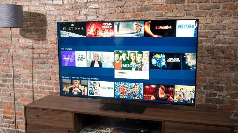 The Samsung Q80A TV has a sleek design with bright, colorful pictures.