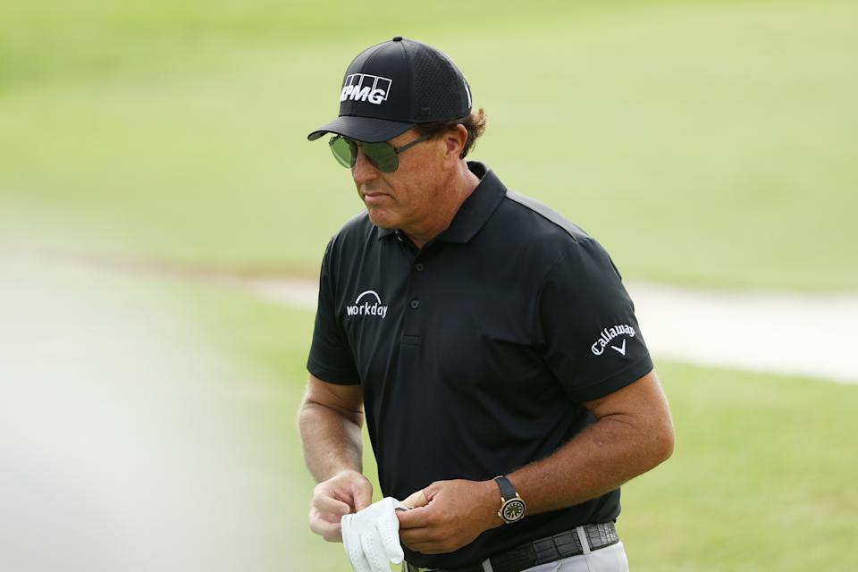Phil Mickelson of the United States walks on the ninth hole during the final round of the Masters.