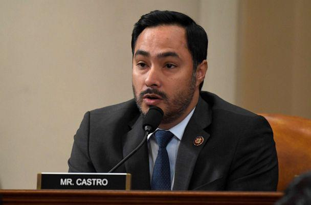 PHOTO: Rep. Joaquin Castro questions top U.S. diplomat in Ukraine William Taylor, and career Foreign Service officer George Kent, at the House Intelligence Committee hearing on Capitol Hill, Nov. 13, 2019. (Susan Walsh/AP)