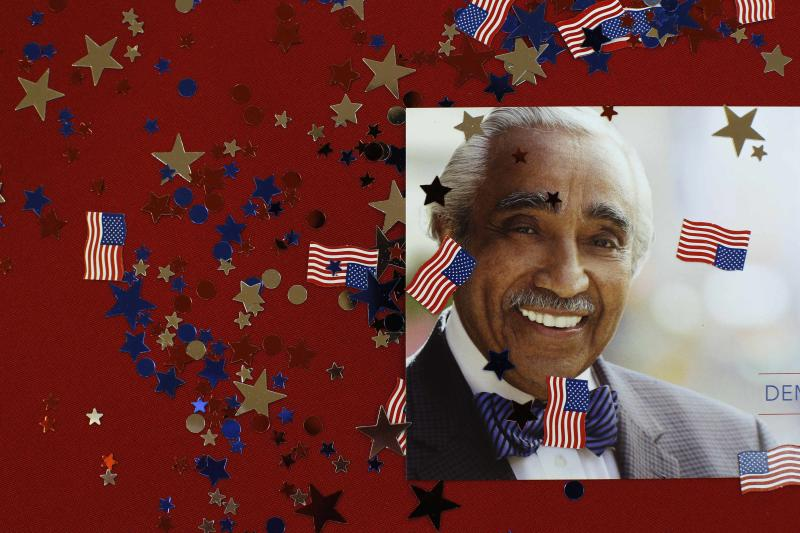 A flyer of Rangel is seen on a table during the Democratic Primary election party in New York