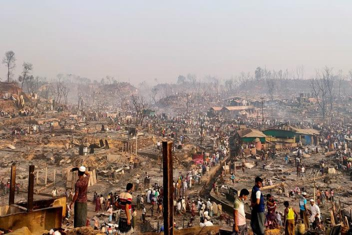 Fire destroys homes in Rohingya refugee camp in Cox's Bazar