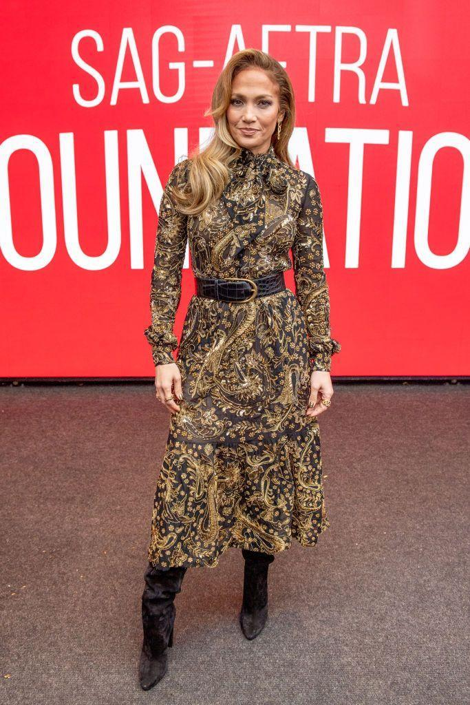 <p>Attending a SAG conversation event for Hustlers, Lopez wore a paisley-print YSL ruffled midi dress.</p>