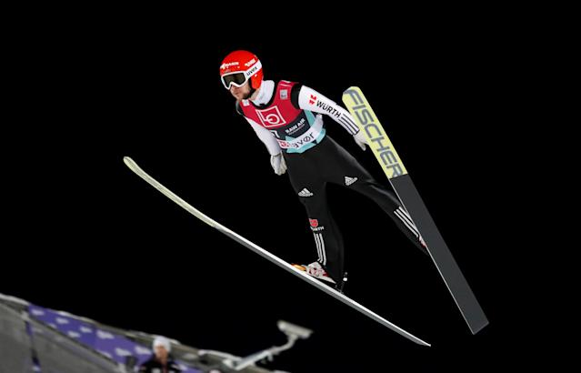 Ski Jumping World Cup - Men's HS134 Qualification - Holmenkollen, Oslo, Norway - March 9, 2018. Markus Eisenbichler of Germany is seen during official training. NTB Scanpix/Terje Bendiksby via REUTERS ATTENTION EDITORS - THIS IMAGE WAS PROVIDED BY A THIRD PARTY. NORWAY OUT. NO COMMERCIAL OR EDITORIAL SALES IN NORWAY.