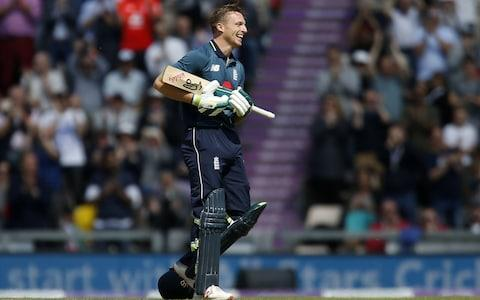 England's Jos Buttler celebrates reaching 100 runs during the second One Day International - Credit: IAN KINGTON/AFP/Getty Images