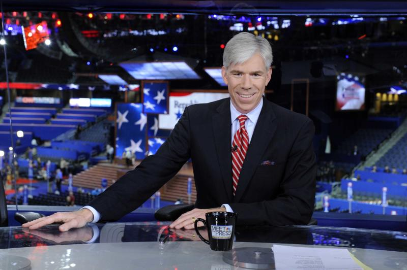 """This Aug. 26, 2012 photo released by NBC shows host David Gregory from """"Meet the Press"""" during the Republican National Convention in Tampa, Fla. Gregory has re-upped as host of """"Meet the Press."""" The network is sharing no details, but on Thursday, Feb. 21, 2013, described the new deal as """"a long-term commitment.""""  The 42-year-old Gregory began as host of the Sunday morning public-affairs program in December 2008. He succeeded the late Tim Russert.  (AP Photo/NBC, Virginia Sherwood)"""