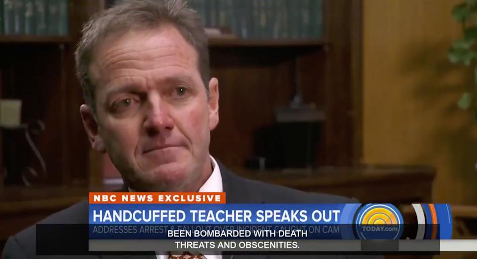 Superintendent Jerome Puyau teared up while talking about death threats he says he and his family have received. (Photo: Today Show)