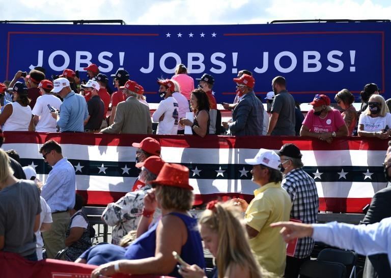 US President Donald Trump delivers remarks on the economy in Oshkosh, Wisconsin in August 2020