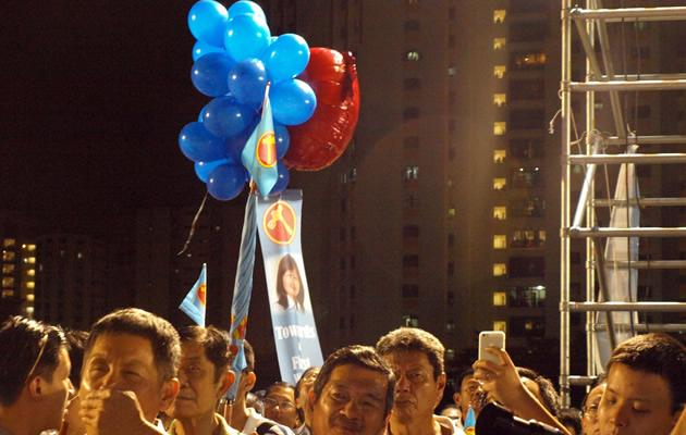 One supporter toted an 'Angry Birds' balloon fastened to a banner of WP candidate Lee Li Lian