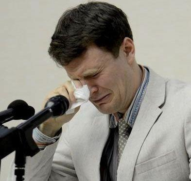 Otto Warmbier cries as he speaks to a judge in North Korea's highest court on Wednesday, the day he was sentenced. Photo: REUTERS