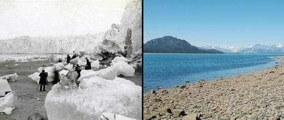 "A comparison of two Alaska images from 1882 and 2005 show the extent of ice melt in NASA's ""State of Flux"" photo series."