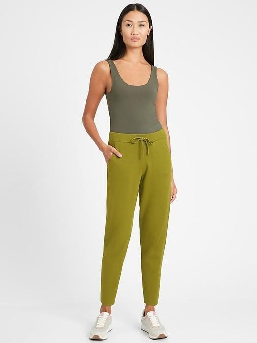 """<p>Banana Republic calls this """"Cinque Terre green"""" and we can't get enough of the striking color of this <span>Banana Republic Sweater Jogger</span> ($99). Is it too much to wear the full set? If you can't travel to Italy, bring the hills of Italy to you!</p>"""