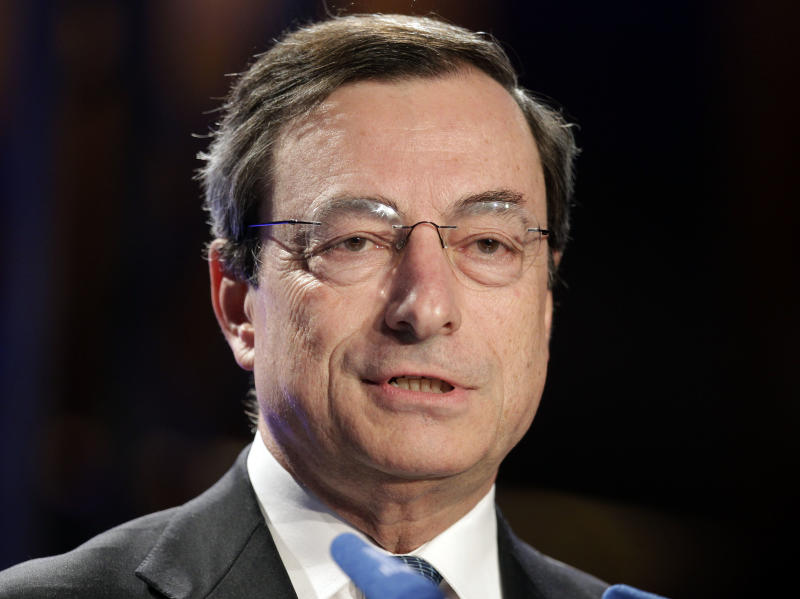 Mario Draghi, Governor of the Bank of Italy, speaks during a meeting of business leaders in Berlin, Germany, Wednesday, May 25, 2011. Draghi has been mentioned as a potential successor to Jean-Claude Trichet, whose term as President of the European Central Bank ends October 2011.  (AP Photo/Michael Sohn)