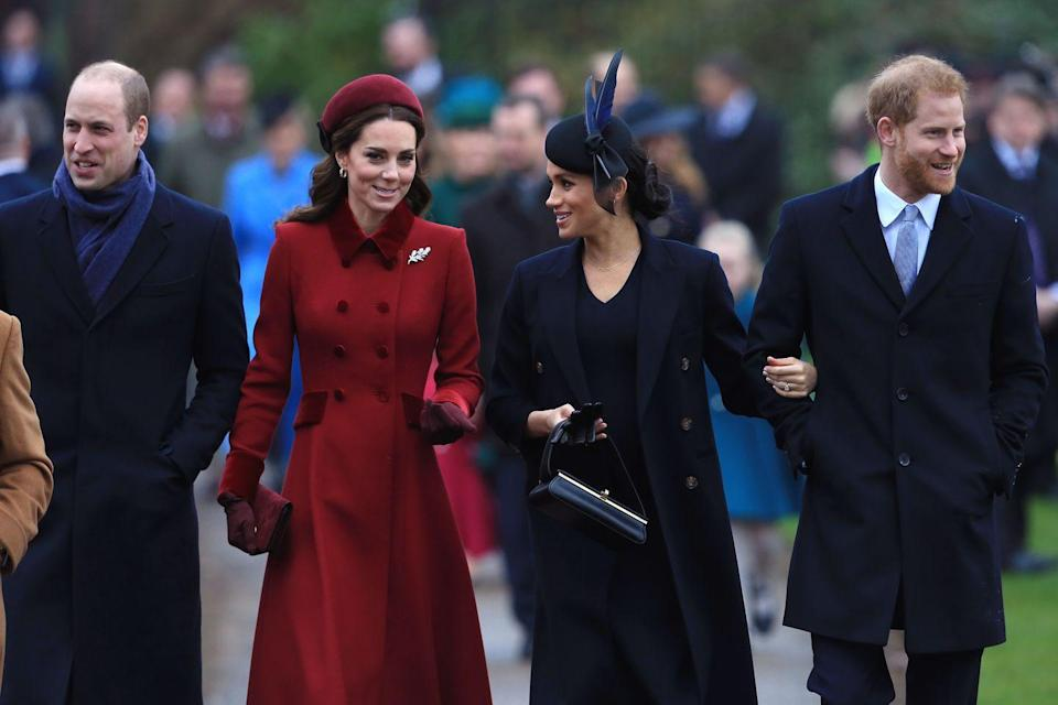 """<p>Rumors about a rift between the Duchesses (that's Cambridge and Sussex, BTW) began in November 2018. Allegations and """"inside scoops"""" <a href=""""https://www.cosmopolitan.com/entertainment/celebs/a29802099/prince-william-prince-harry-royal-feud-rift-timeline/"""" rel=""""nofollow noopener"""" target=""""_blank"""" data-ylk=""""slk:flew back and forth for months"""" class=""""link rapid-noclick-resp"""">flew back and forth for months</a> before it came out that the rift reportedly lied between Prince William and Prince Harry. The media coverage of the supposed feud even prompted the palace to <a href=""""https://www.cosmopolitan.com/entertainment/celebs/a29802099/prince-william-prince-harry-royal-feud-rift-timeline/"""" rel=""""nofollow noopener"""" target=""""_blank"""" data-ylk=""""slk:make a statement"""" class=""""link rapid-noclick-resp"""">make a statement</a> about it, which was extremely unprecedented. </p>"""