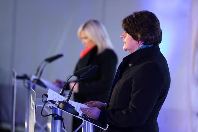 First Minister Arlene Foster and Deputy First Minister Michelle O'Neill during a media briefing at The Hill of O'Neill centre in Dungannon, Co Tyrone