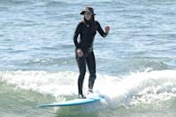 <p>Leighton Meester enjoyed a day of surfing with her husband Adam Brody in Malibu, California.</p>