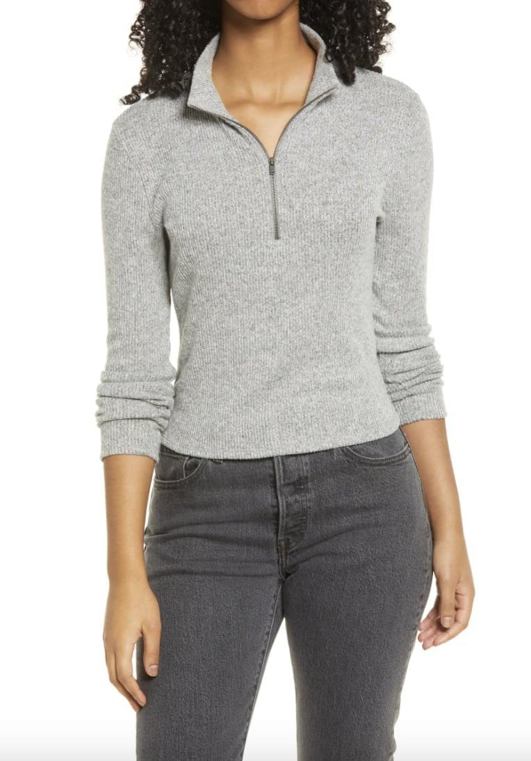 <p>This cozy-looking <span>Socialite Skivvy Rib Half-Zip Sweater</span> ($30) is a great deal.</p>
