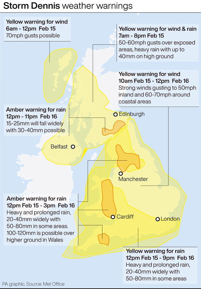 Storm Dennis weather warnings. See story WEATHER Storm. Infographic PA Graphics