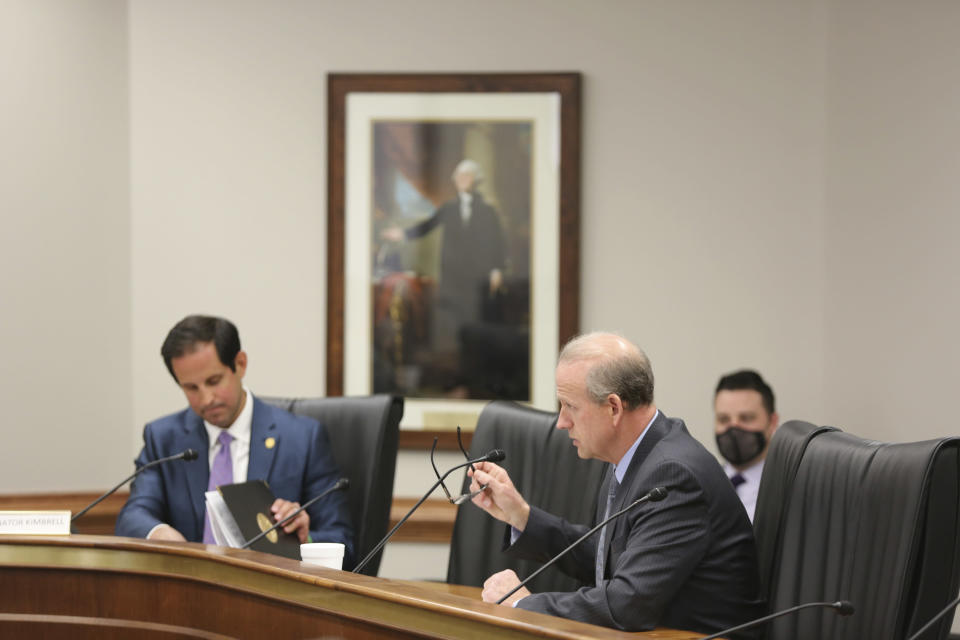 State Sen. Josh Kimbrell, R-Spartanburg, left, asks questions of Sen. Tom Corbin, R-Travelers Rest, right, during a meeting Tuesday, March 23, 2021, in Columbia, S.C. Corbin has introduced a bill that would make everyone over 17 who can legally own a gun a member of a militia so the federal government couldn't pass a law to ever their seize guns. (AP Photo/Jeffrey Collins)