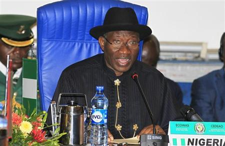 Nigeria's President Goodluck Jonathan attends the 43rd Economic Community of West African States (ECOWAS) meeting in Abuja