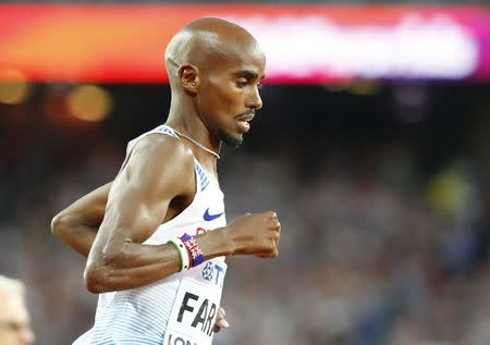 Athletics - World Athletics Championships – men's 5000 meters final – London Stadium, London, Britain – August 12, 2017 – Mo Farah of Britain competes. REUTERS/Lucy Nicholson