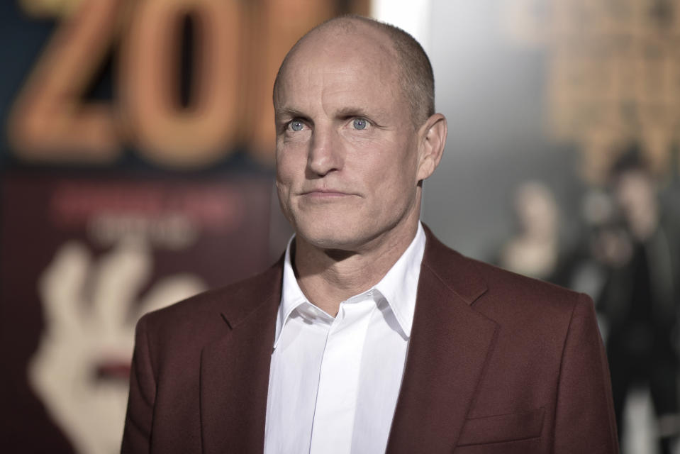"""Woody Harrelson attends the LA Premiere of """"Zombieland: Double Tap"""" at the Regency Village Theatre on Thursday, Oct. 10, 2019, in Los Angeles. (Photo by Richard Shotwell/Invision/AP)"""