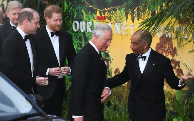 William and Harry, pictured with Charles and the Lord-Lieutenant of Greater London Sir Kenneth Olisa at the premier. Kirsty O'Connor/PA Wire