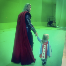 """<p>Stunt double? """"The passing of the torch,"""" the star of <em>Thor: Ragnarok</em> captioned this adorable photo of himself holding hands with one of his Mini-Mes on set. The superhero and his wife, Elsa Pataky, are parents to 3-year-old twin sons Sasha and Tristan, as well as 5-year-old India Rose. (Photo: <a rel=""""nofollow noopener"""" href=""""https://www.instagram.com/p/BbNOkP4BmEf/?taken-by=chrishemsworth"""" target=""""_blank"""" data-ylk=""""slk:Chris Hemsworth via Instagram"""" class=""""link rapid-noclick-resp"""">Chris Hemsworth via Instagram</a>) </p>"""