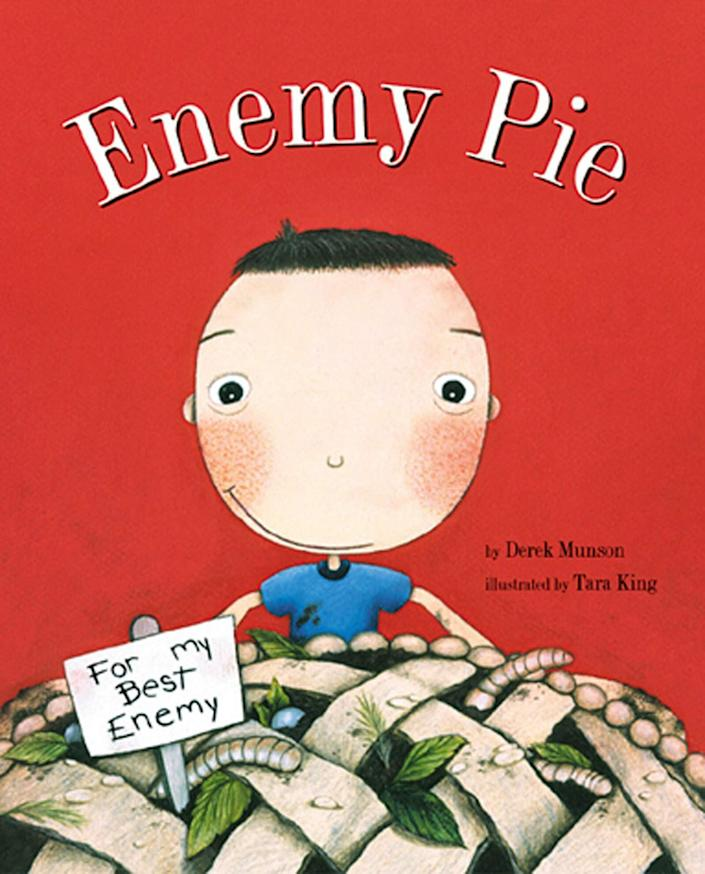 "This book offers a sweet message about the right way to treat our ""enemies"" -- with kindness. <i>(Available <a href=""https://www.amazon.com/Enemy-Pie-Reading-Rainbow-book/dp/081182778X"" rel=""nofollow noopener"" target=""_blank"" data-ylk=""slk:here"" class=""link rapid-noclick-resp"">here</a>)</i>"
