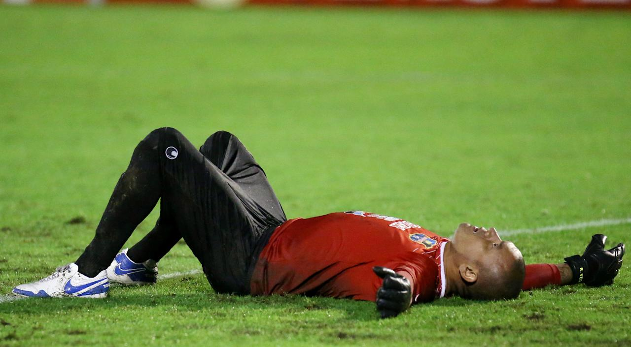 Soccer Football - Copa Libertadores - Brazil's Chapecoense v Venezuela's Zulia ,  Arena Conda stadium, Chapeco, Brazil - 23/5/17 - Goalkeeper Renny Vega of Zulia reacts after losing the match.  REUTERS/Edison Vara