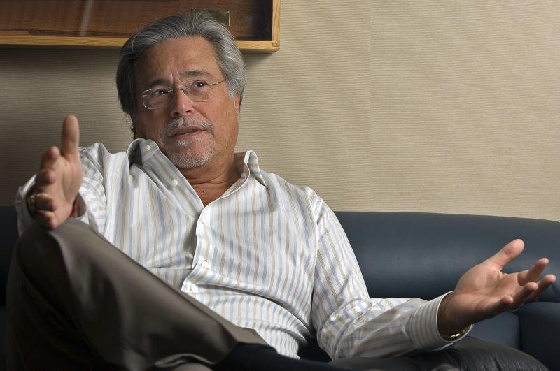 FILE - In this Thursday, Feb 22, 2007 file photo, Carnival Corp. Chief Executive Micky Arison speaks about the state of the cruise industry during an interview from his office at company headquarters in Miami. Carnival announced Tuesday, June 25, 2013, that Arison, who has been CEO since 1979 and is the son of Carnival co-founder Ted Arison, is being replaced by Arnold W. Donald, who has served on the company's board for the past 12 years. Arison will continue to serve as chairman of the board. Carnival Corp. posted a $41 million second-quarter profit thanks to lower fuel costs and the timing of some administrative expenses, the company also announced Tuesday. (AP Photo/David Adame, File)